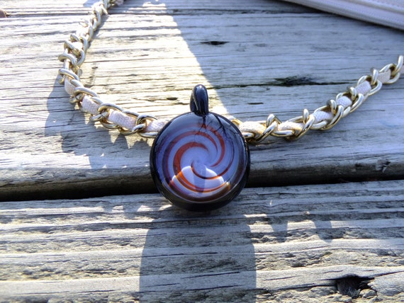 Blue & Orange Spiral Glass Necklace Heady Pendant Heady Glass Pendant Boro Pendant Hand Blown Glass Pendant Light glass bead Heady Jewelry