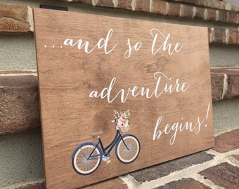and so the adventure begins sign - Wooden Wedding Signs - Wood