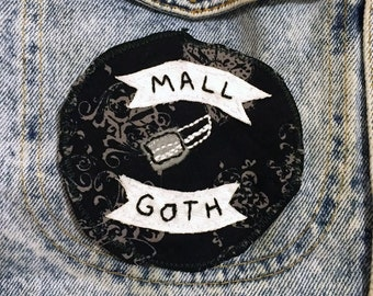 Mall Goth - hand embroidered sew on patch