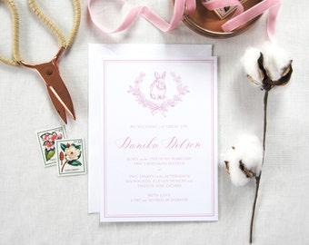 Custom Calligraphy Baby Invitation; Personalized baby announcement card, baby animals