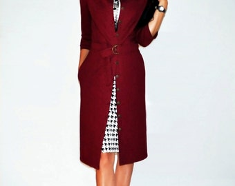 Burgundy dress Cardigan Jersey dress Jersey coat Red dress Long sleeves