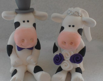 Cow Wedding Cake Topper, Bride And Groom, Novelty Topper, Handmade
