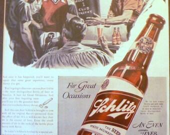 1940 Schlitz Beer Ad Matted Life Magazine Print