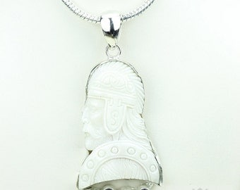 ODIN Allfather Norse Mythology TOTEM Goddess Face Moon Face Bone Carving 925 S0LID Sterling Silver Pendant + 4MM Chain p3915