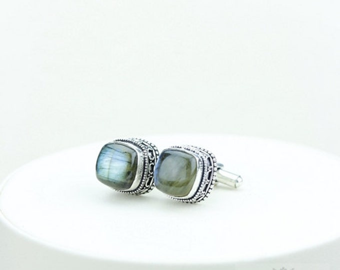Square cut with rounded corners Canadian Labradorite Vintage Filigree Antique 925 Fine S0LID Sterling Silver Men's / Unisex CUFFLINKS k236