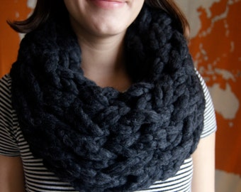 Ash Gray Chunky Knit Infinity Scarf