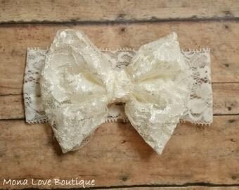 Ivory Lace Bow Headband