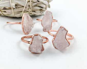 Raw Rose Quartz Ring | Metaphysical Jewelry |  Electroformed Jewelry | Rose Quartz and Copper Ring | Crystal Healing