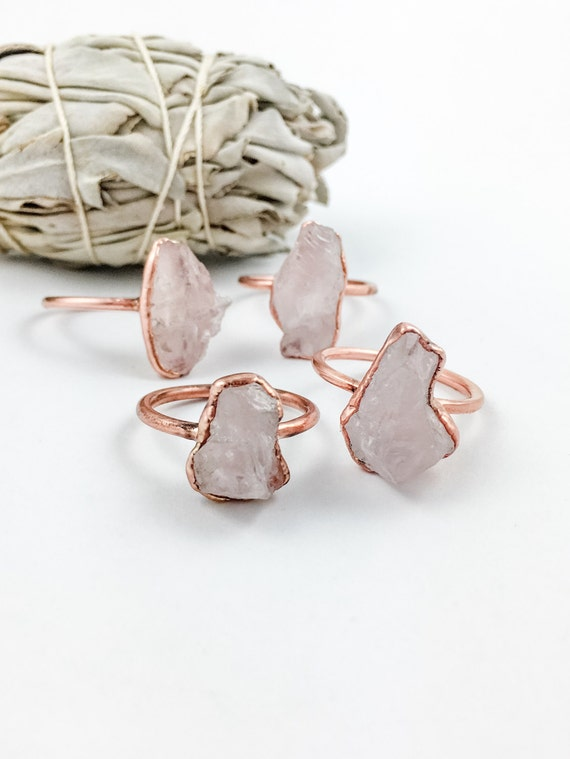 Raw Rose Quartz Ring Metaphysical Jewelry Electroformed