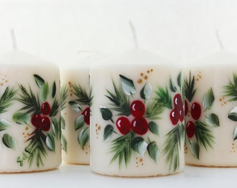 Hand Painted  Christmas Pillar Candle Holly Berries and Pine Wax or LED