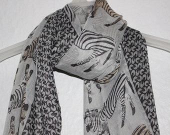 Zebra Scarf, Grey Zebra Scarf, For Her, Gift For Women, Spring, Summer Scarf, Animal Scarf, Zebras, Safari, Zoo, Animal Lover