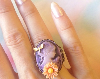 Lady violet cameo Adjustable ring