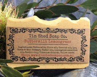 Buttermilk Lemongrass Handmade Soap withEssential Oil, Shea and Cocoa Butters. Made in Australia.