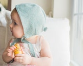 Aqua Wool Blend Baby Bonnet, 12-18 Month Bonnet, Baby Photo Prop, Baby Photography Prop, Sea Foam Green, Vintage-Inspired, Infant Bonnet