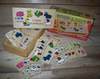 Wooden Domino's Farm Animals in Box