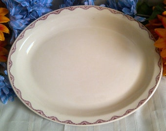 Albert Pick Vitrified China. Albert Pick Oval Platter With Maroon Crown. 1930's.