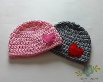 Valentine's Day Hat - Simple Heart Beanie - All Sizes Pink Hat - Gray Hat - Valentine's Day Beanie - Baby Valentine's Day Hat - Crochet Hat