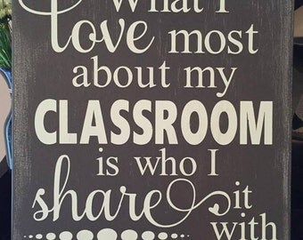 """Custom Painted """"What I Love About My Classroom"""" Wood Teacher Sign"""