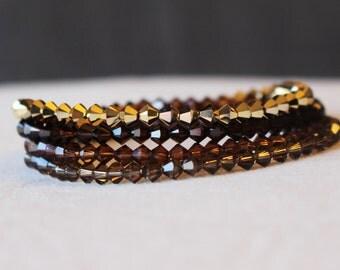 Swarovski Crystal Bracelet - Gold Bracelet - Earth Tone Bracelets - Bridesmaid Bracelet - Gifts for Her - Bridal Jewelry - Crystal Jewelry