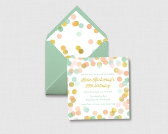 """Mint, Coral, Pink, and Gold Confetti 5"""" x 5"""" Invitation - Digital or Printed"""