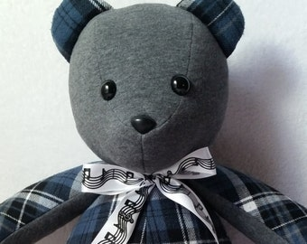 "memory bear,  18"" handmade keepsake bear, stuffed teddy bear, baby shower gift, keepsake  plushie, remembrance bear, custom keepsake bear"
