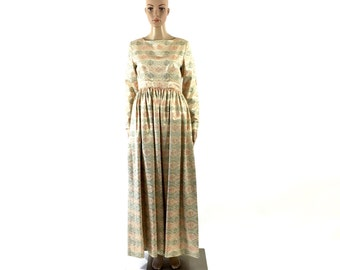 Vintage Designer Saks Fifth Avenue Full Length Long Sleeve Cream, Pink, Gold Dress, Small