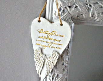 In memory ornament, Memorial gift ~ Angel wings remembrance keepsake, Death of loved one, Feathers appear when angels are near