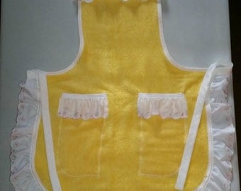 ON SALE, Yellow Apron,Homemade Apron, Repurposed Apron, Towel Apron, Ready to Ship