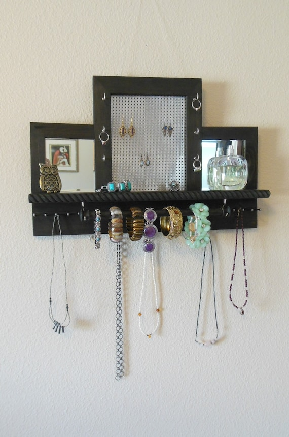 Decorative Wall Mirror Jewelry Organizer : Mirror earring holder jewelry organizer by