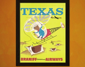 Texas Travel Poster - Vintage Travel Print Retro Wall Decor Travel Texas Poster Texas Travel Print Gift Idea