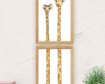 Nursery wall art, giraffe print, twins gift, cute wall decor, animal print, nursery decor, twins baby shower, gift for twins, baby twins