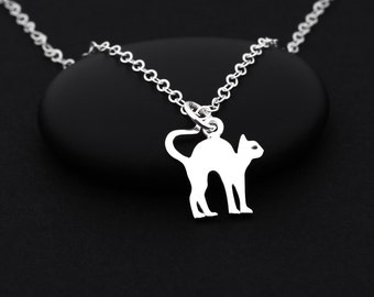 Halloween Cat Necklace, Silver Cat Necklace, Sterling Silver, Cat Jewelry, Halloween Jewelry, Tiny Cat Necklace, Cat Charm Necklace,