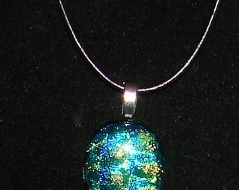 Green, Blue and Gold Dichroic Glass Handmade Fused Pendant