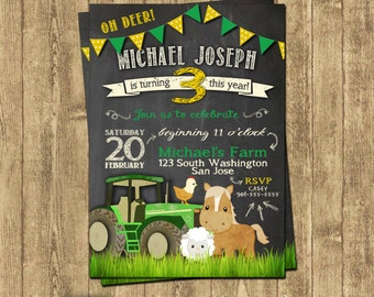 John Deere Inspired Tractor Birthday Invitations
