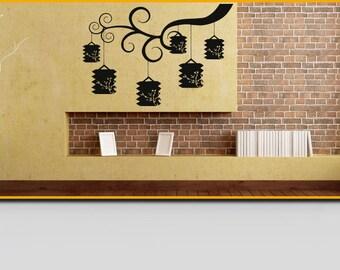 Wall Vinyl Sticker Decals Mural Room Design Pattern Art Decor Branch Tree China Lamp mi174