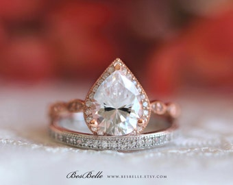 2.66 ct.tw Milgrain Art Deco Two Tone Bridal Set Ring-Pear Cut Halo Engagement Ring W/ All or Half Band Ring-Sterling Silver [65362TT-2]