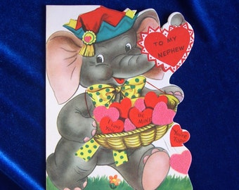 1950's Elephant on Roller Coaster Valentine Card for Nephew Unused