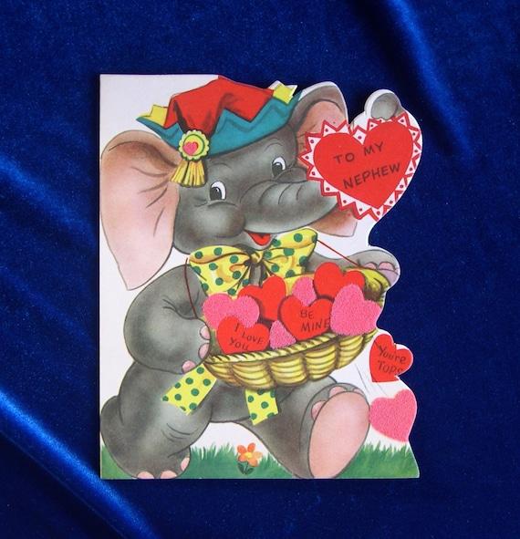 Valentines Day Elephants Vintage Cards – Nephew Valentine Cards