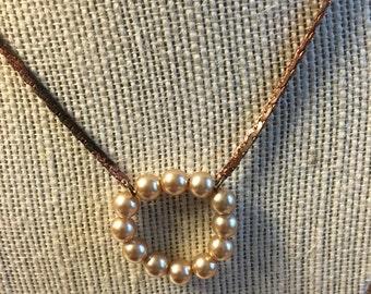 Pearl necklace - antique repurposed materials