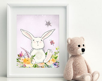 Rabbit Bunny Print Floral Watercolor Nursery Art Mauve Nursery Decor Woodland Nursery Baby Boy Baby Girl Nursery Printable Lavender Lilac