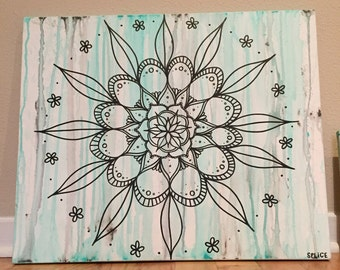 Flower Mandala Hand Painted Canvas, Custom Wall Art Decor, Zen Painting, Tie Dye