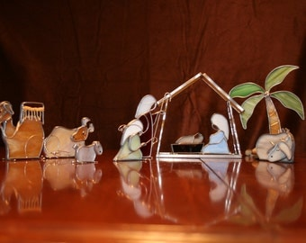 Stained Glass Nativity Set