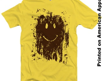 Mud Splatter Smiley Face American Apparel Men/Women T-shirt S-XXL Funny, Forest Gump, Movie, Classic, Marathon, Run, Cool Gift!