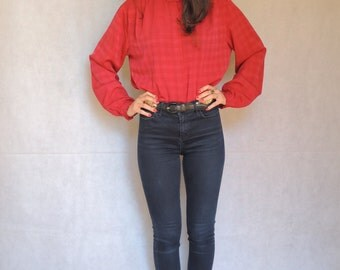 Vintage Red Long Sleeve Button Up Blouse