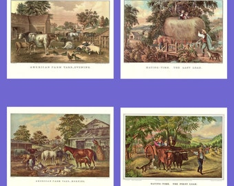 Four Prints of the American Farm from the book Currier and Ives America