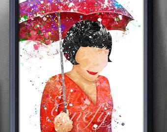 Amélie Poulain Watercolour Poster Print - Le Fabuleux Destin d'Amélie Poulain Wall Decor - Artwork- Painting - Illustration - Home Decor  -