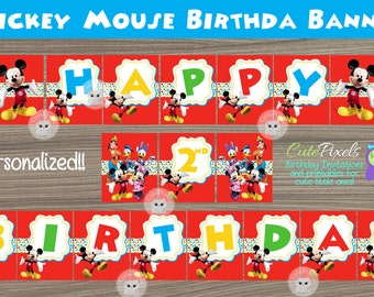 Mickey Mouse Birthday Banner, Mickey Mouse Clubhouse Banner, Mickey Mouse Birthday, Mickey Mouse Party, Mickey Mouse Sign, Bunting Banner