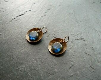 Boho earrings, domed brass earrings with Czech glass beads, blue dangle earrings, hammered earrings, earrings nickle free, brass earrings