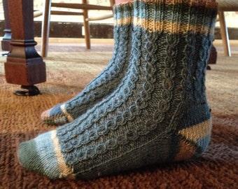 Boys Handknit Socks, Boys Sock, Knit Socks, Washable Wool Socks, Crew Socks, Boys Crew Socks, Blue Socks, Striped Socks
