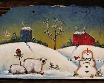 Hand Painted Folk Art Snowmen Winter Sheep Slate